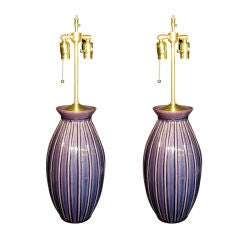 Pair of french  light Aubergine table  lamps