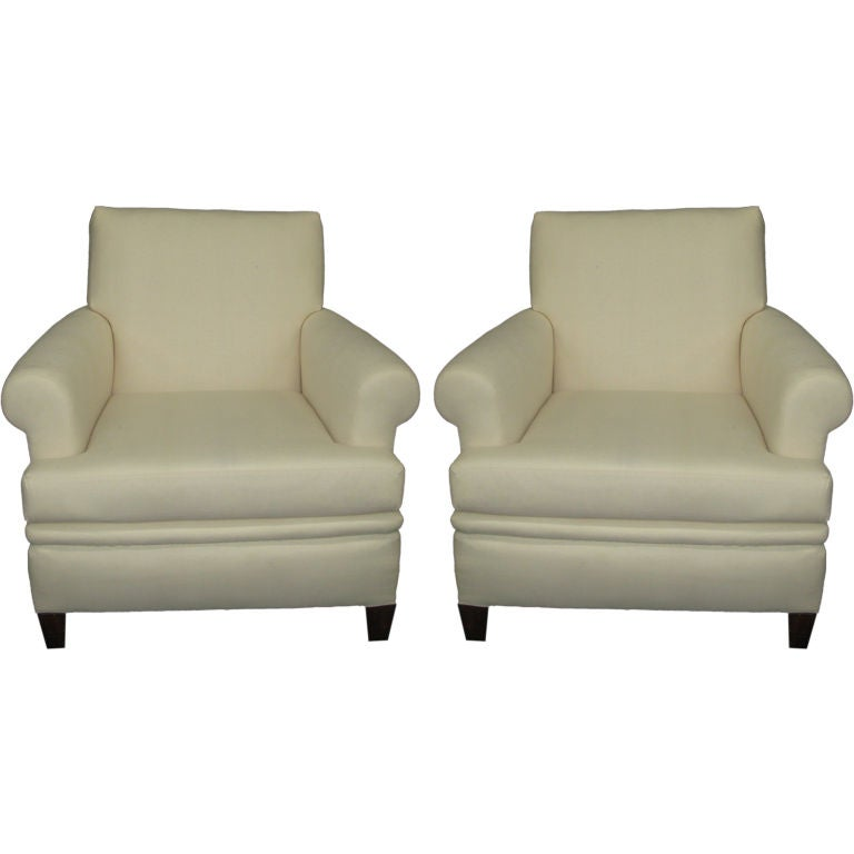 pair of elegant extremely comfortable club chairs at 1stdibs
