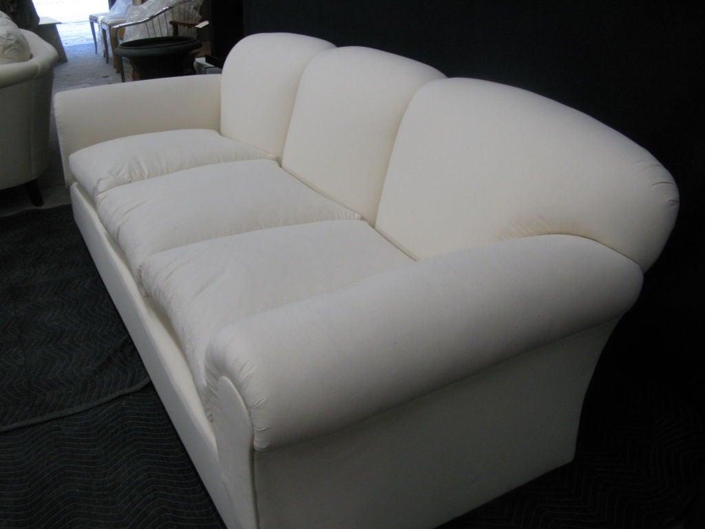 Large comfortable tight back loose seat sofa at 1stdibs for Big comfortable sofas