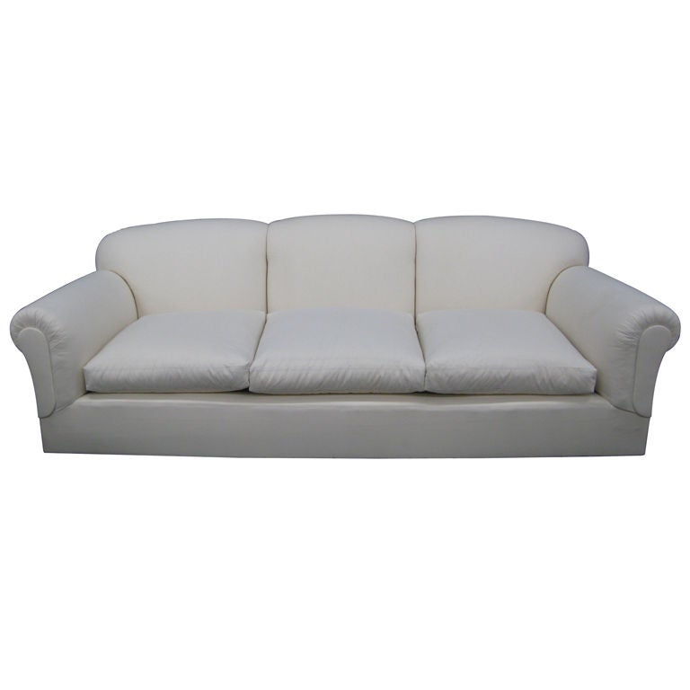 Large, Comfortable Tight Back, Loose Seat Sofa For Sale