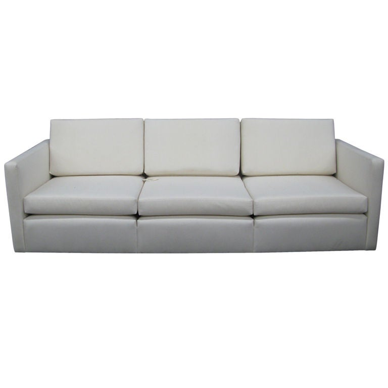 Famechon Sofa With Channeled Back And Seat Walnut Legs: Sleek And Very Cool 1960's Loose Back, Loose Seat Sofa At