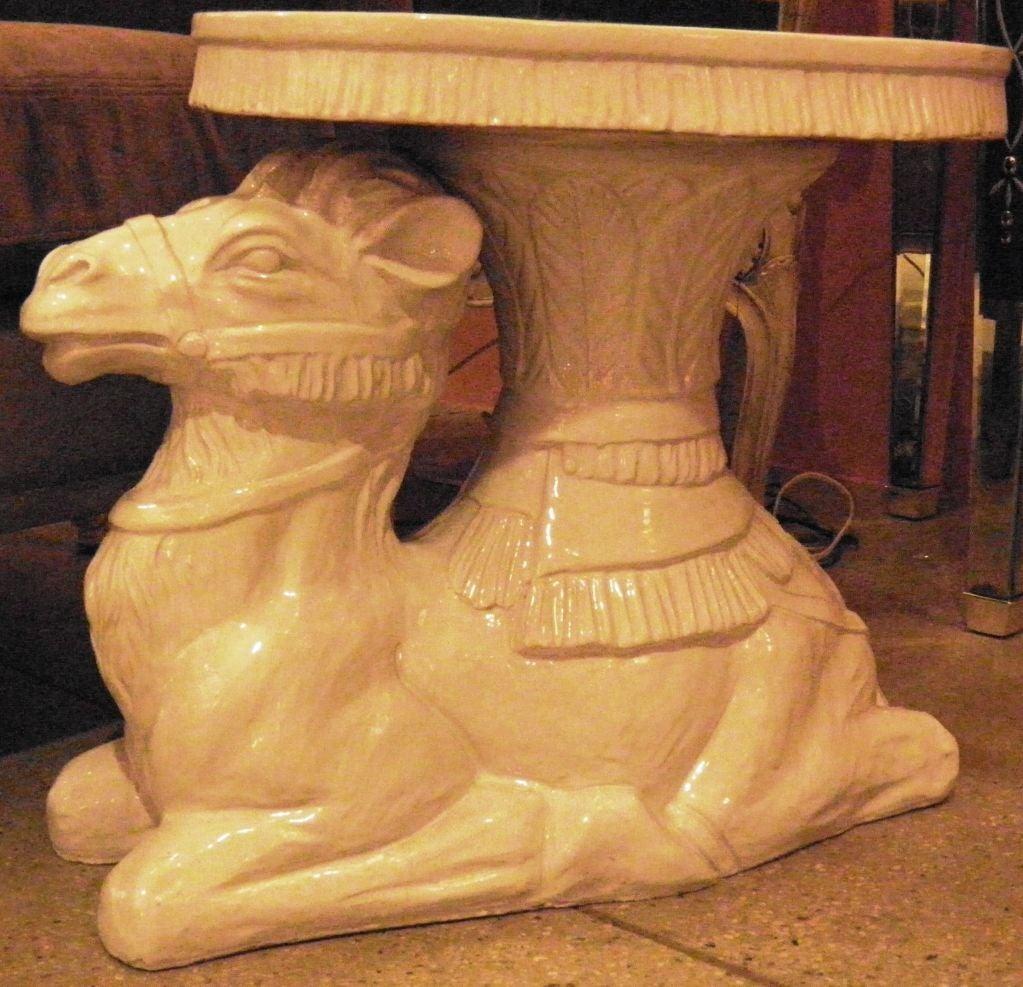 Large ceramic dromadaire based stand at 1stdibs - Ceramic pedestal table base ...