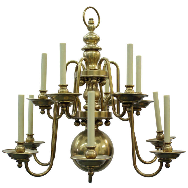 Double Tiered Colonial Wiliamsburg Style Brass 12 Light
