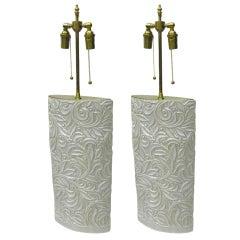 Pair of elegant ceramic vases with telescopic lamp application