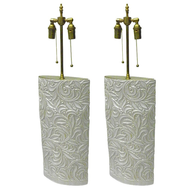 Pair of elegant ceramic vases with telescopic lamp application