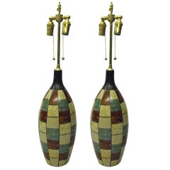 Pair of mid century wooden vases with lamp application