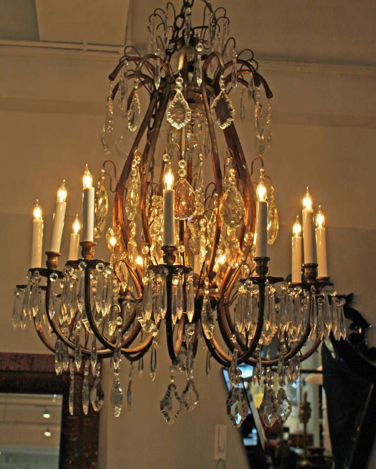 Of eighteen light belle epoque crystal chandeliers for sale at 1stdibs
