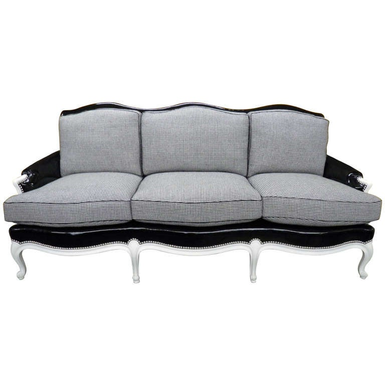 Louis XV Sofa Fully Restored in Black and White with Polished Nickel Nailheads