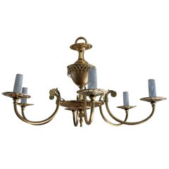 pair of French Brass plated 6 candle chandeliers