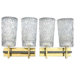 Pair of Vintage Textured Glass Twin Lamp Sconces