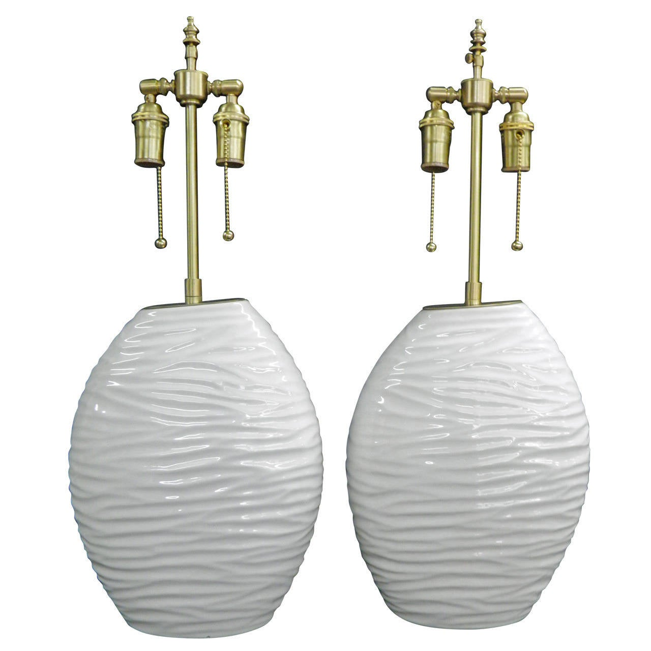 "Pair of ""Ripple"" Textured Ceramic Vessels with Lamp Application"