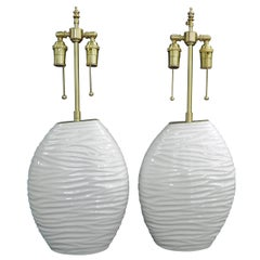 """Pair of """"Ripple"""" Textured Ceramic Vessels with Lamp Application"""