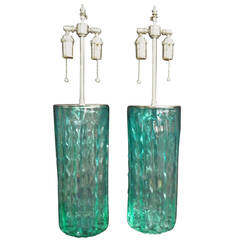 """Pair of Unusual Textured """"Coke"""" Green Glass Vases with Lamp Application"""