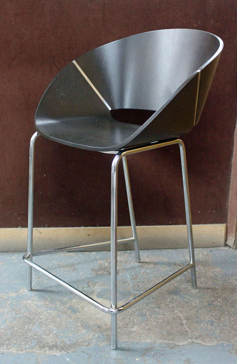 Trio Of Italian Bentwood And Chrome Counter Stools At 1stdibs