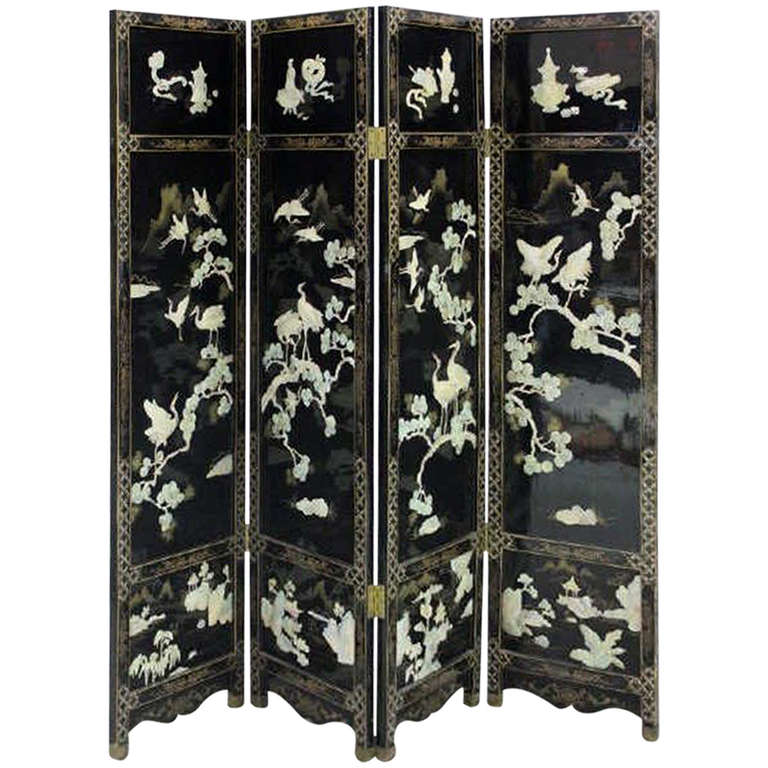 Mother Of Pearl Inlay Wooden Mini Folding Screen Asian: Finely Detailed Vintage, Chinese Lacquer Folding Screen At