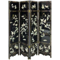 Finely Detailed Vintage, Chinese Lacquer Folding Screen