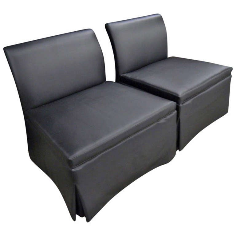 chic pair of estate slipper chairs matte black fabric for sale at 1stdibs. Black Bedroom Furniture Sets. Home Design Ideas