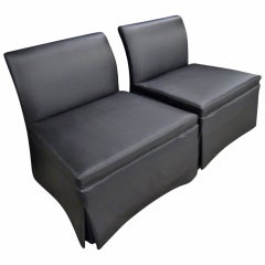 Chic Pair of Estate Slipper Chairs, Matte Black Fabric