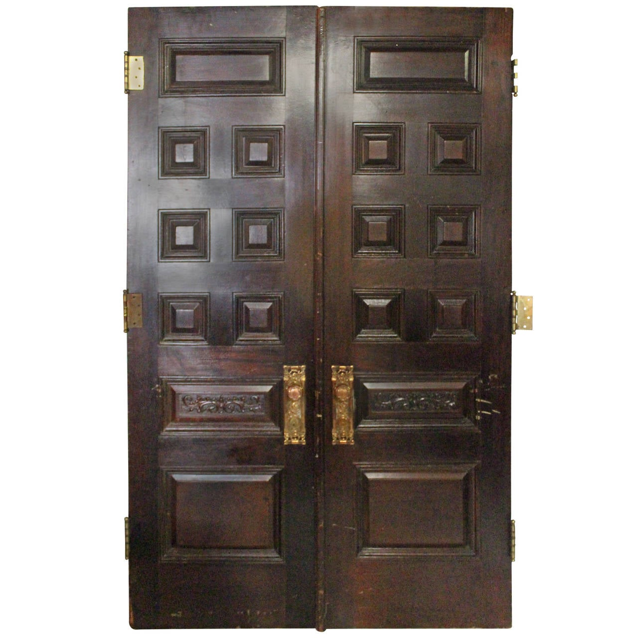 Large Pair Of Solid Mahogany Estate Doors With Bronze And
