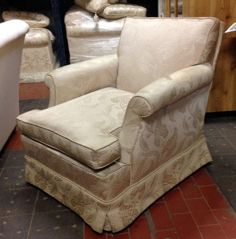French Pair Of Estate Skirted Club Chairs In Original Fabric For Sale