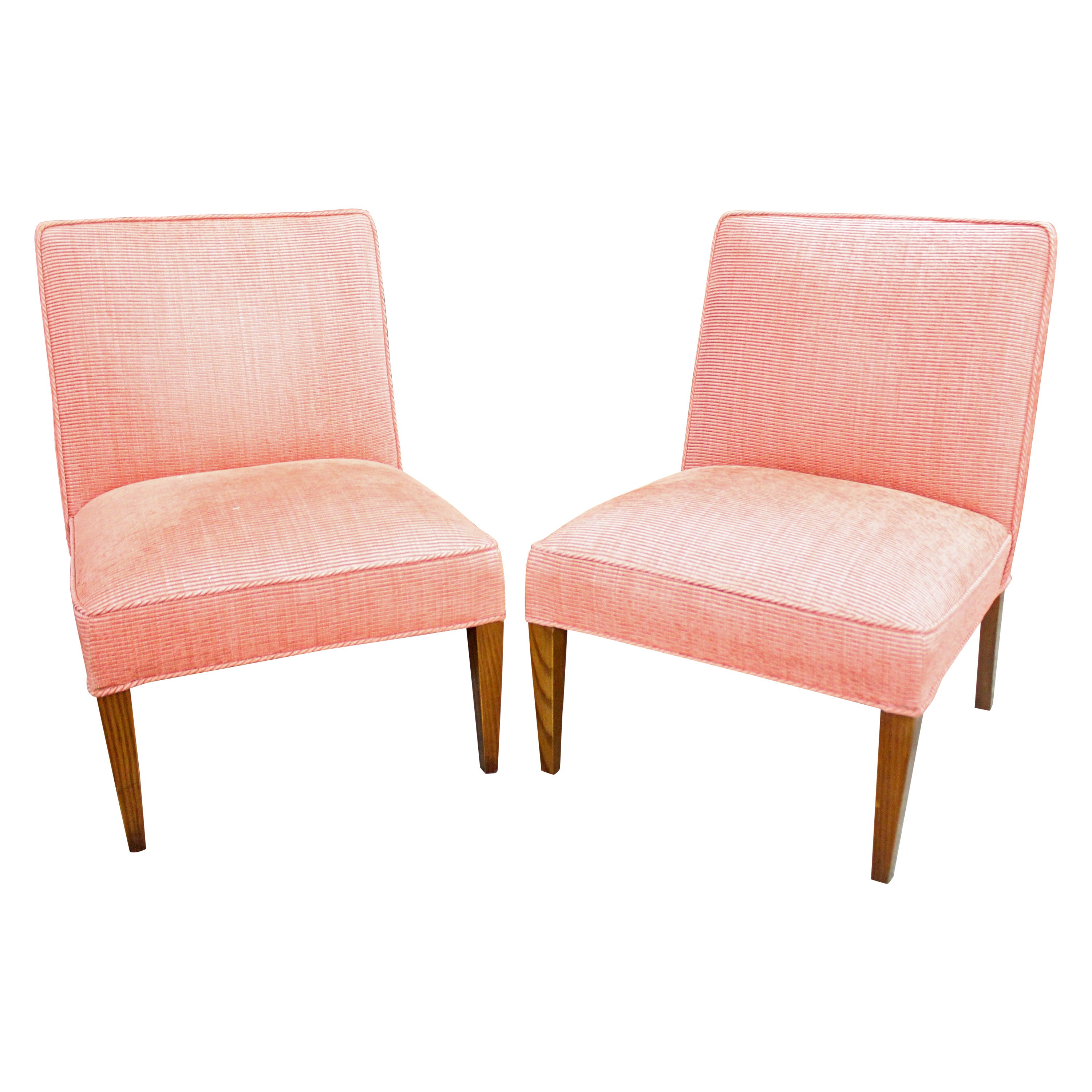 Pair of Vintage Side Chairs in a Rose Corded Fabric