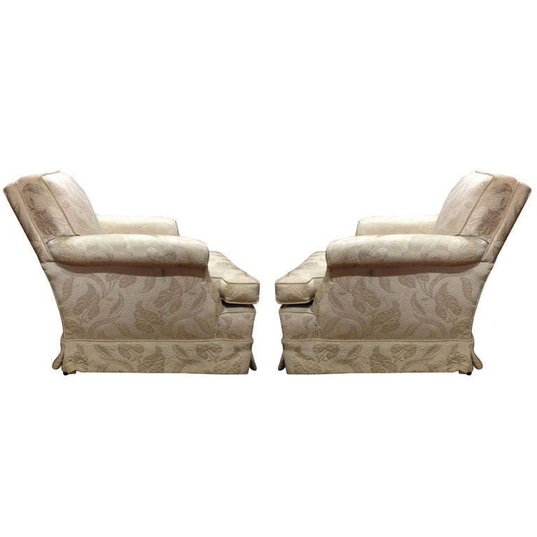 Pair Of Estate Skirted Club Chairs In Original Fabric