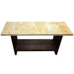 Golden Marble and Espresso Oak console