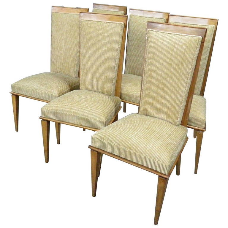 Chic and fully reupholstered vintage ash dining chairs for for Reupholstered chairs for sale