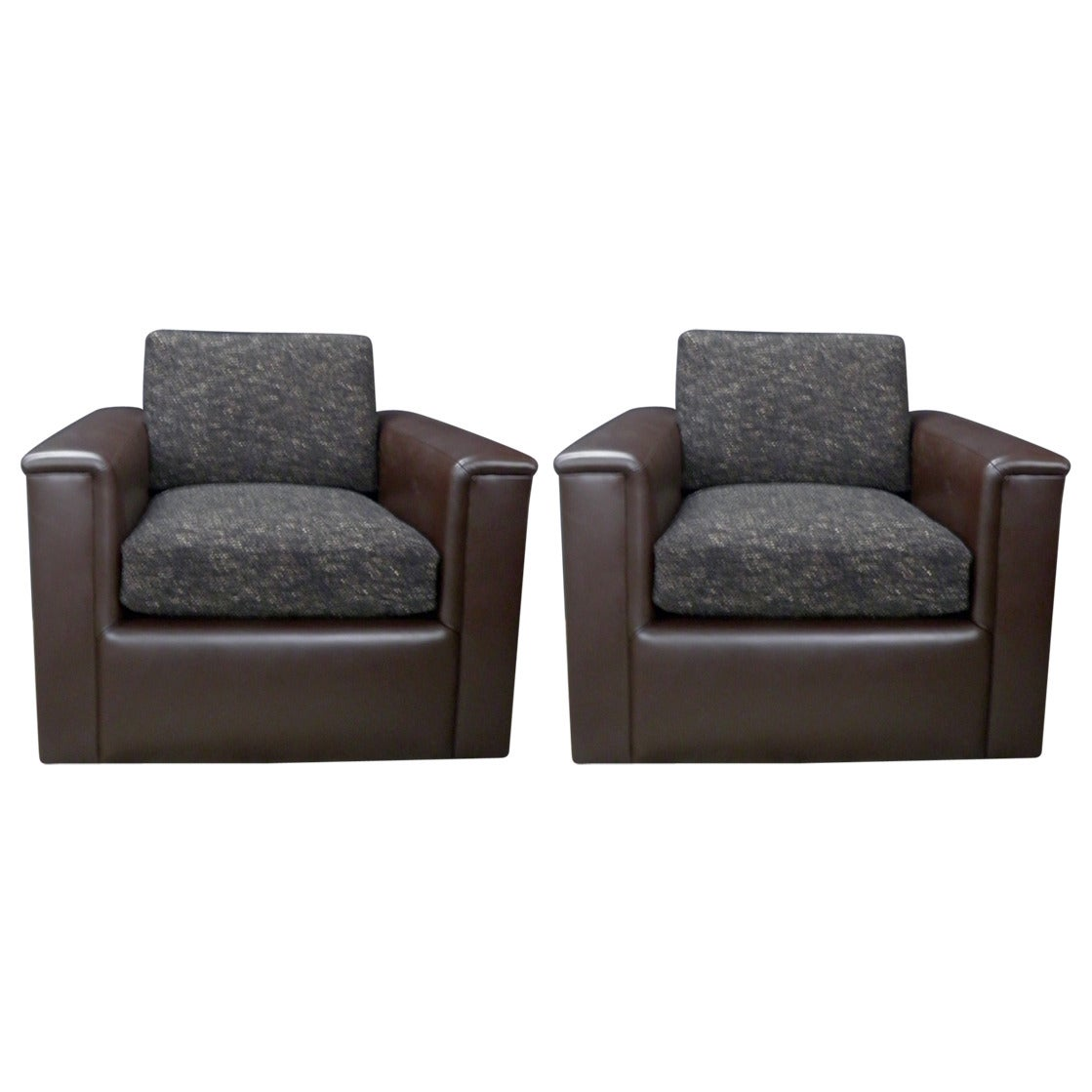 Fully Refurbished Pair Of Very Comfortable Club Chairs On Casters And Swivels For