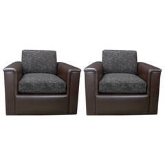Fully Refurbished Pair of Very Comfortable Club Chairs on Casters and Swivels
