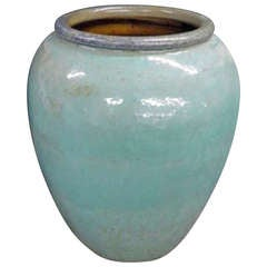 Monumental Terracotta Urn in a Turquoise Glaze