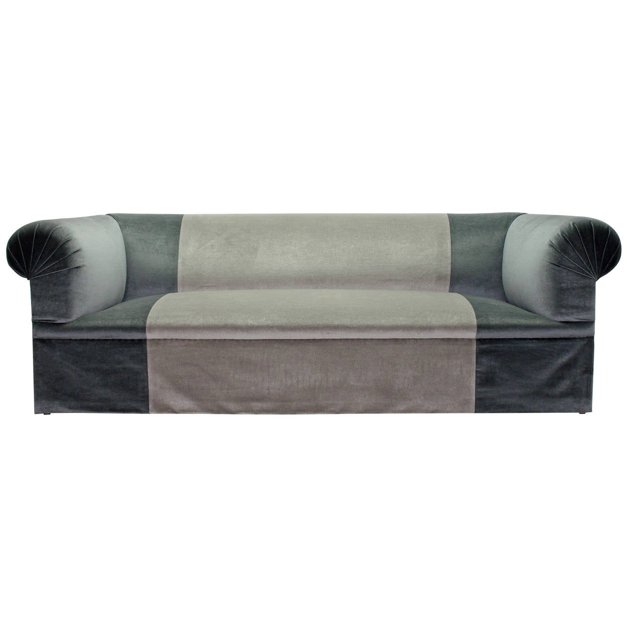 Long Deep And Very Comfortable Luxe Sofa In Two-Tone Blue