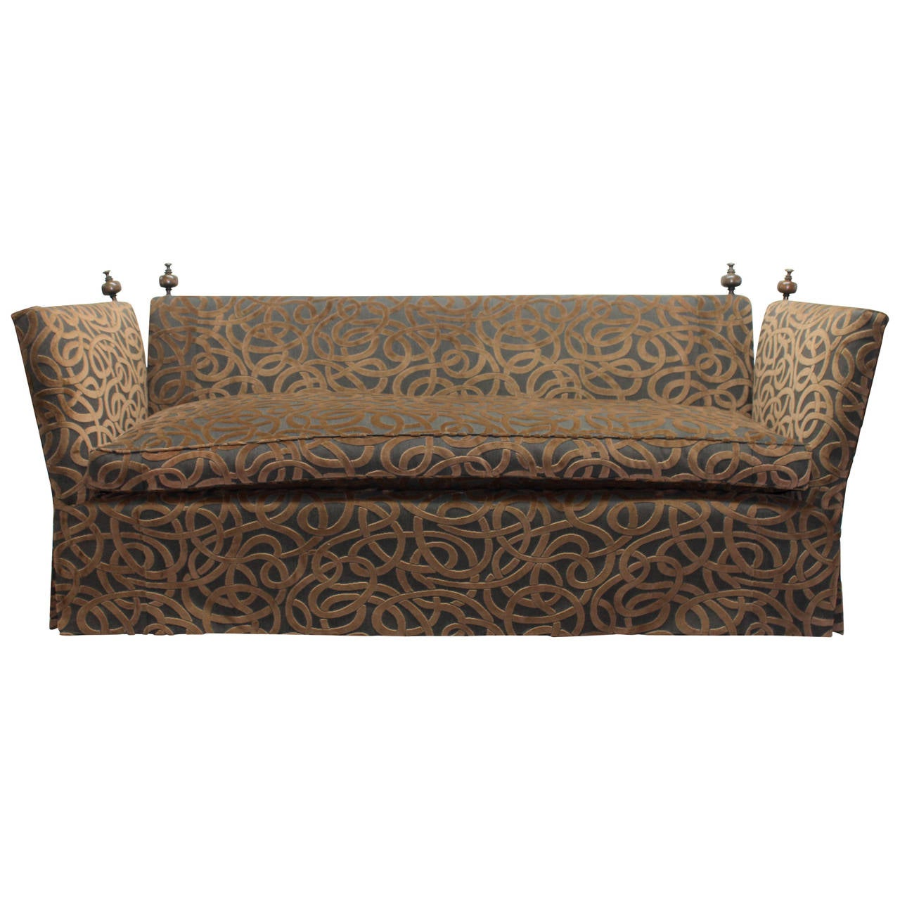 Clic Knole Style Sofa In A Whimsical Sheared Velvet And Woven Fabric