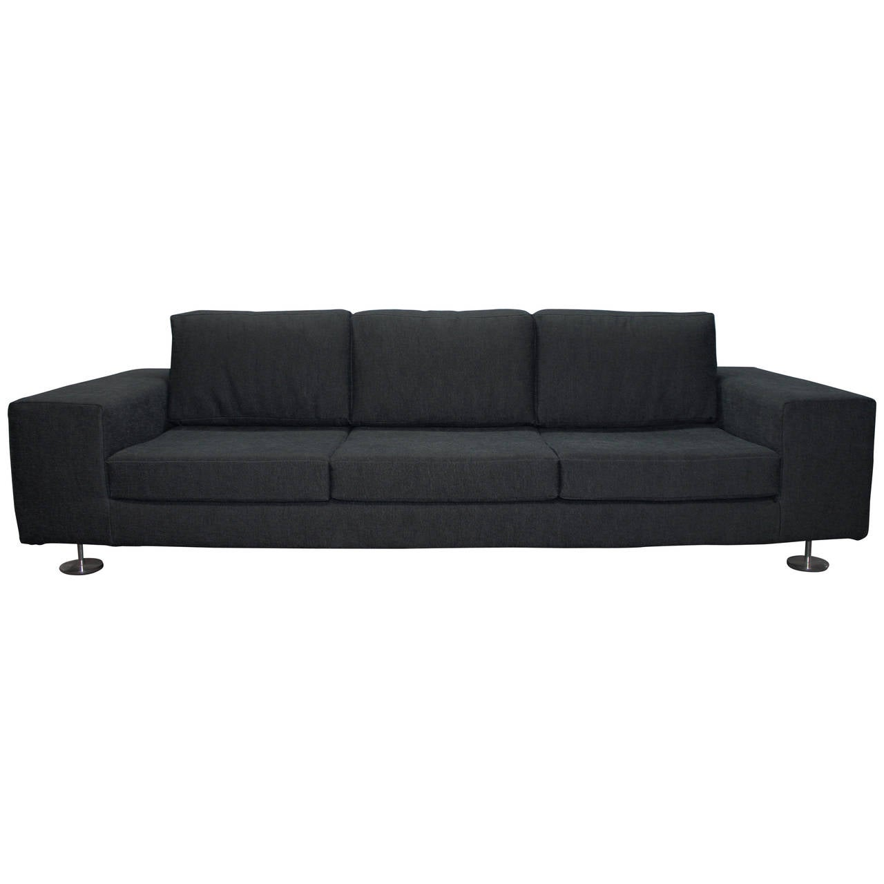 Long low and sleek italian sofa in a woven charcoal for Long couches for sale