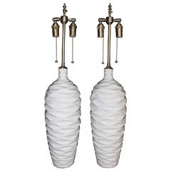 "Chic Pair of ""Wave"" Glazed Ceramic Vases with Lamp Application"