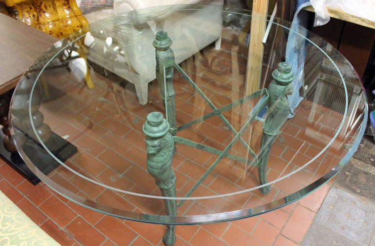 Unusual cast patinated bronze triple lion base dining for Unusual dining tables for sale