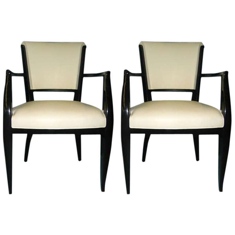 Pair of Black Lacquered Fauteuils in White Leather