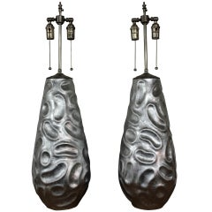 Pair of Large Silver Leafed Vases with Lamp Application
