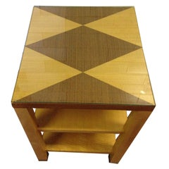 Jacquard Sycamore end table/side table with chrome sabots