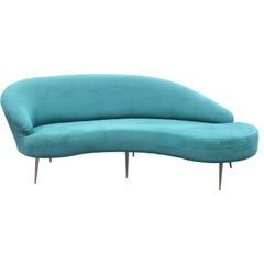 Modern Blue Velvet Serpentine Sofa by Directional