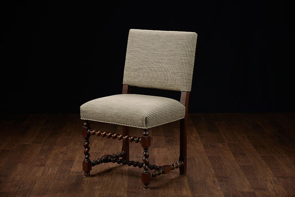 set of 6 vintage french walnut low back dining chairs at