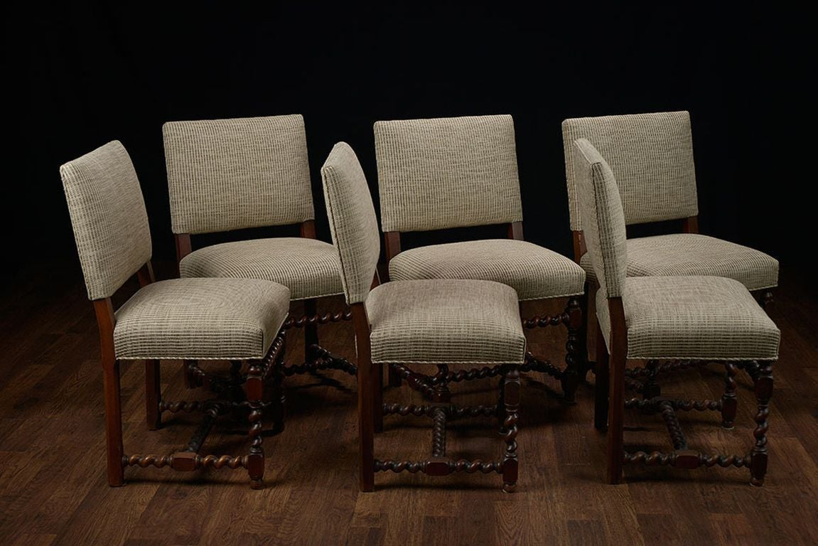 Set of 6 vintage french walnut low back dining chairs at for 6 dining room chairs