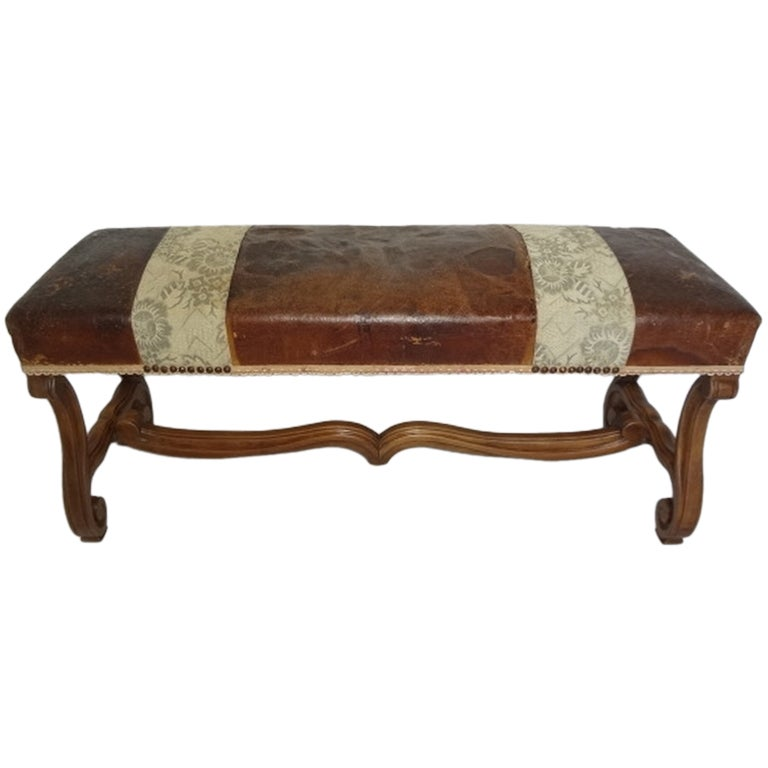 Antique French Leather And Wood Bench At 1stdibs