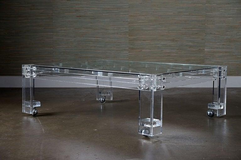 Vintage Acrylic Lattice Coffee Table At 1stdibs