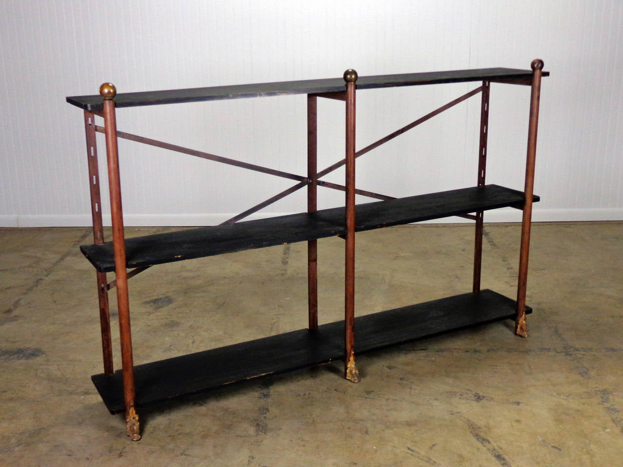 antique brass ball decor etagere at 1stdibs. Black Bedroom Furniture Sets. Home Design Ideas