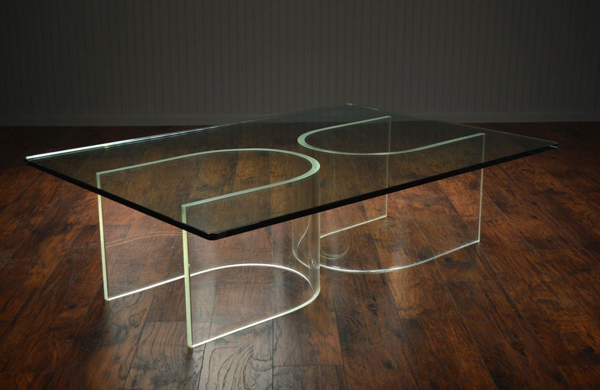Vintage Double U Base Lucite Coffee Table At 1stdibs