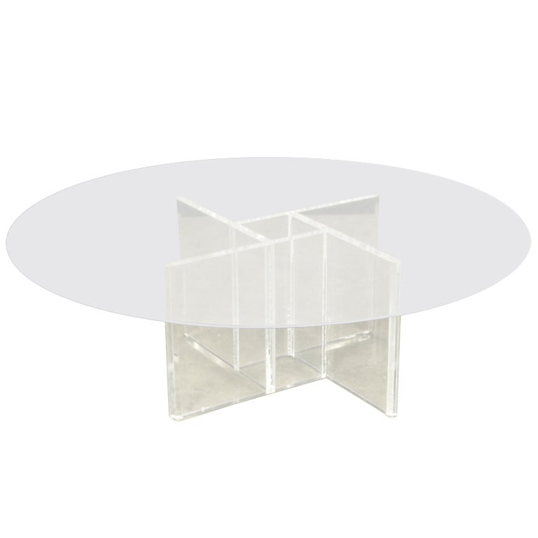 Vintage Lucite Four Sided Geometric Base Coffee Table At 1stdibs