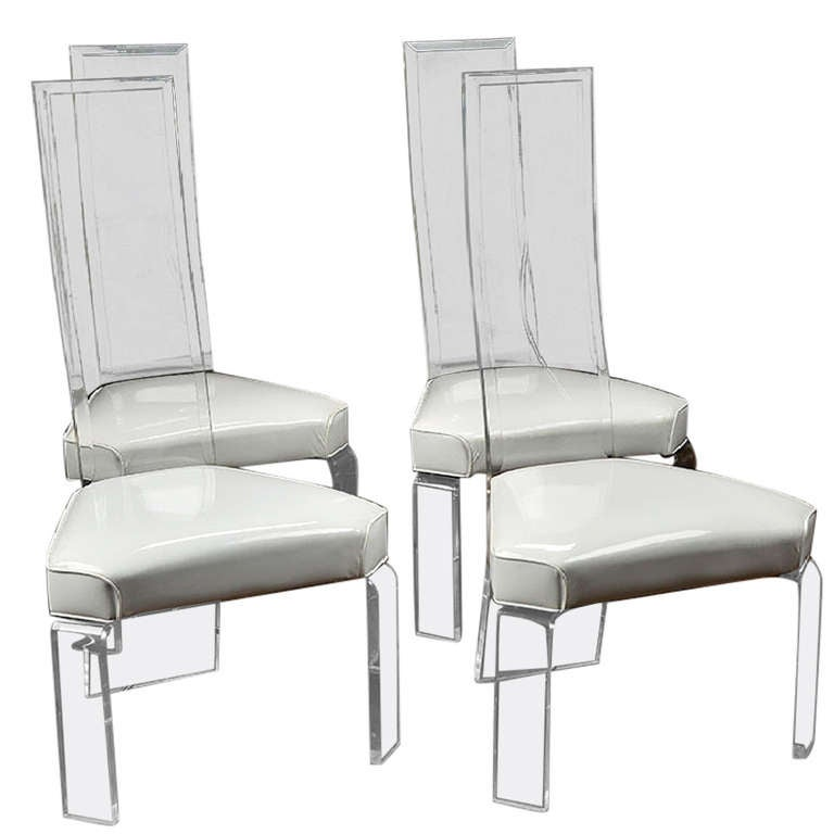 Vintage Lucite And Vinyl Dining Chairs At 1stdibs
