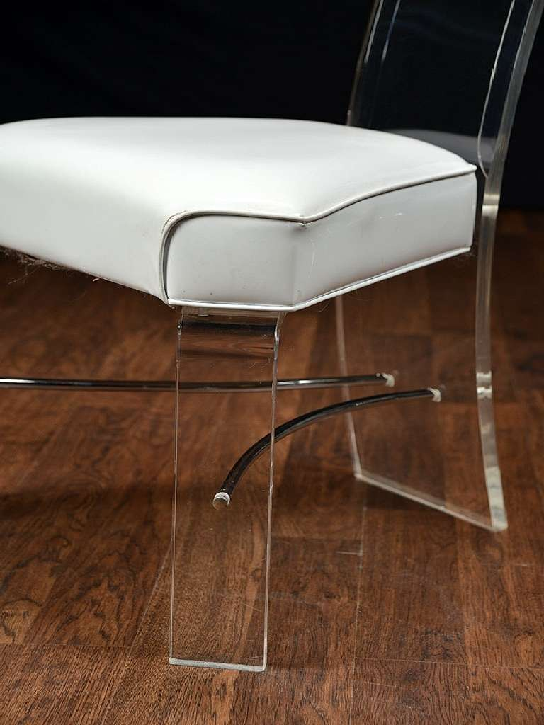 Vintage lucite and vinyl dining chairs at 1stdibs for Perspex furniture