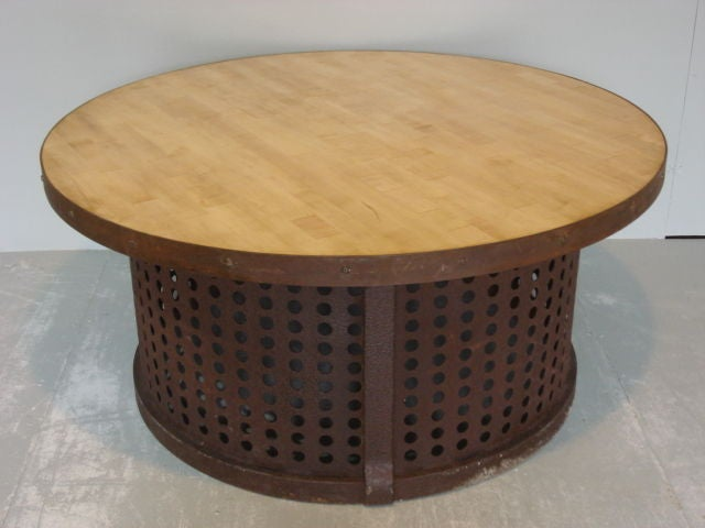 Round metal antique apple perforated basket coffee table at 1stdibs Coffee table baskets